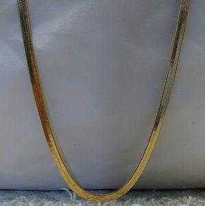 18ktgf thick herringbone necklace